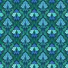 Eleganter blauer Damastblumen von Alondra