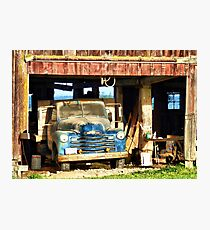 Red Barn Blue Truck Photographic Print