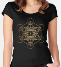 Metatron's Cube Golden Line Fitted Scoop T-Shirt