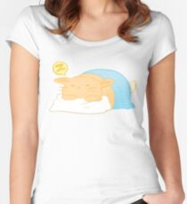 Orange Comic Hase Tailliertes Rundhals-Shirt