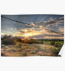 Barbed Wire Sunset Poster