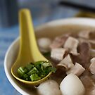 Chicken Noodles on Blue Table, Penang, Malaysia by Ashlee Betteridge