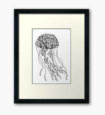 Zentangle Fine liner Jellyfish Framed Print