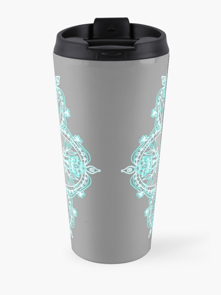 Alternate view of Teal and Aqua Lace Mandala on Grey Travel Mug