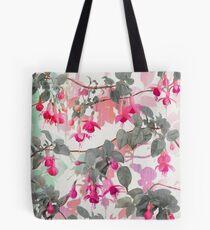 Bolsa de tela Patrón floral arco iris fucsia - con gris