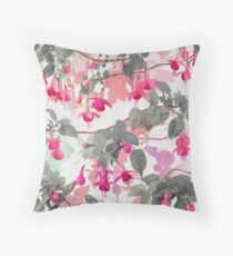 Rainbow Fuchsia Floral Pattern - with grey Throw Pillow