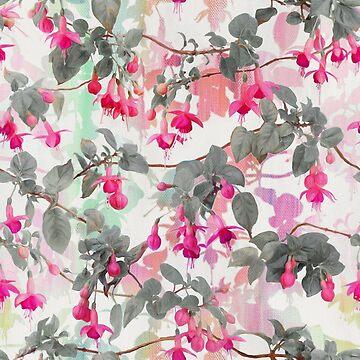 Regenbogen-Fuchsien-Blumenmuster - mit Grau von micklyn