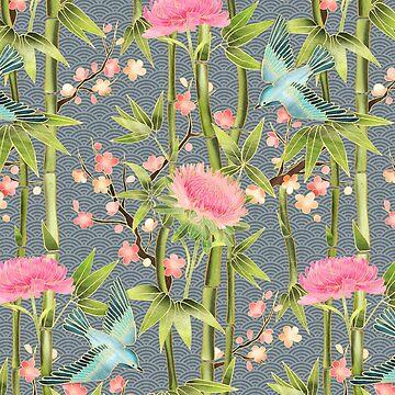 Bambus, Vögel und Blüte - grau von micklyn