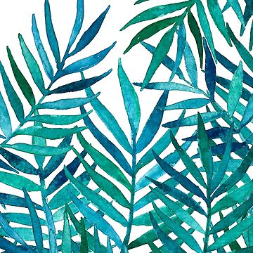 Aquarell-Palmblätter auf Weiß von micklyn