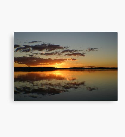 Fire in the Sky at Sunset on Tuggerah Lakes Canvas Print