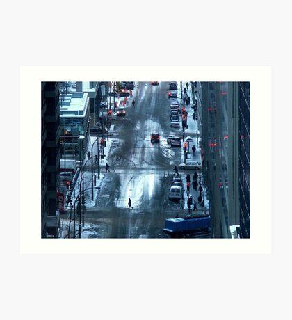 Montreal - Red lights. Art Print