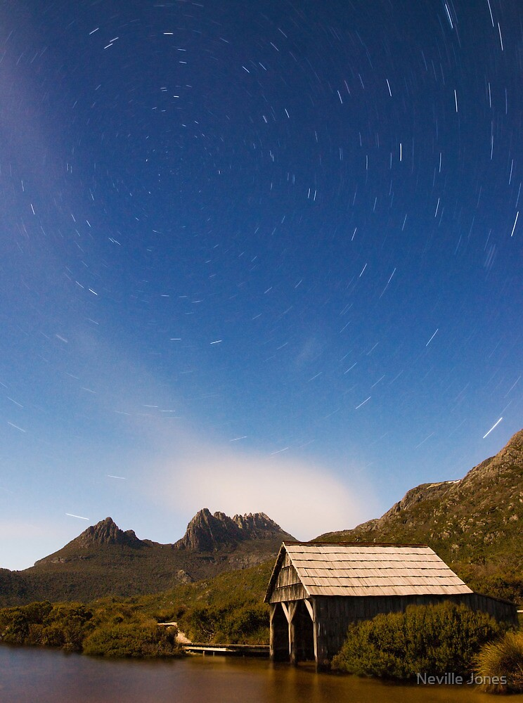 Moonlit Boatshed. Dove Lake, Tasmania by Neville Jones
