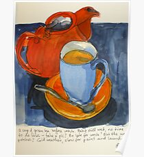 Tea in a blue cup Poster