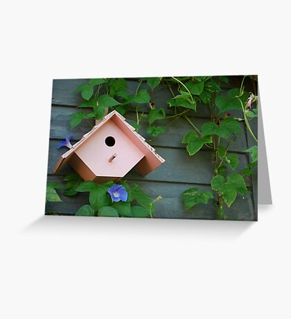 Birdhouse with Morning Glories Greeting Card