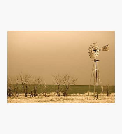 Kansas Windmill in Sepia Photographic Print