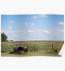 Abandoned Trailer in Kansas Country Field Poster