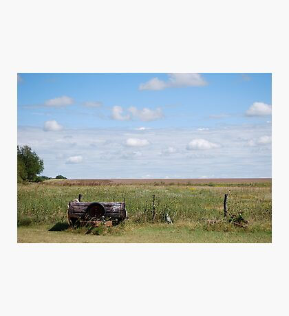Abandoned Trailer in Kansas Country Field Photographic Print
