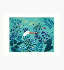 Stork & Plants Art Print