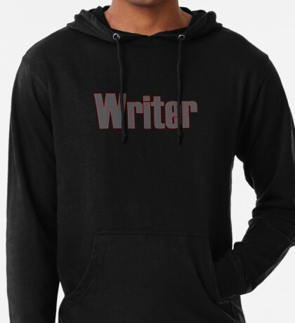 Writer -- Black Text with Red Outline Lightweight Hoodie
