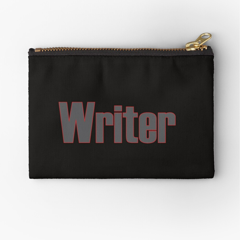 Writer -- Black Text with Red Outline Zipper Pouch