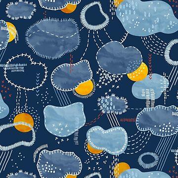 Sashiko Spring Clouds Pattern by marketastengl