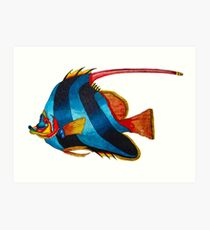 Odd blue fish painting Art Print