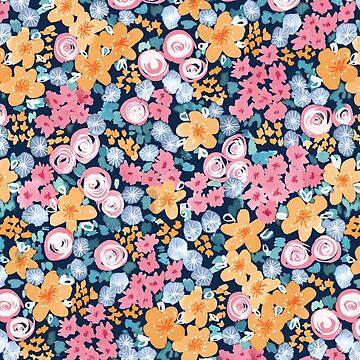 Watercolor Summer Garden Pattern by marketastengl