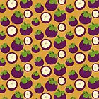 «Patrón de fruta de mangostán tropical» de purplesparrow