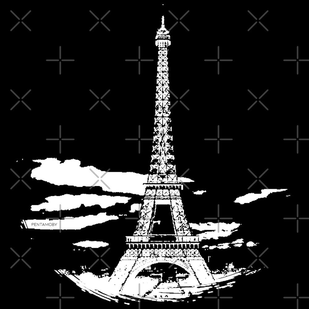 Eiffel Tower Stencil France (w) by Pentamoby