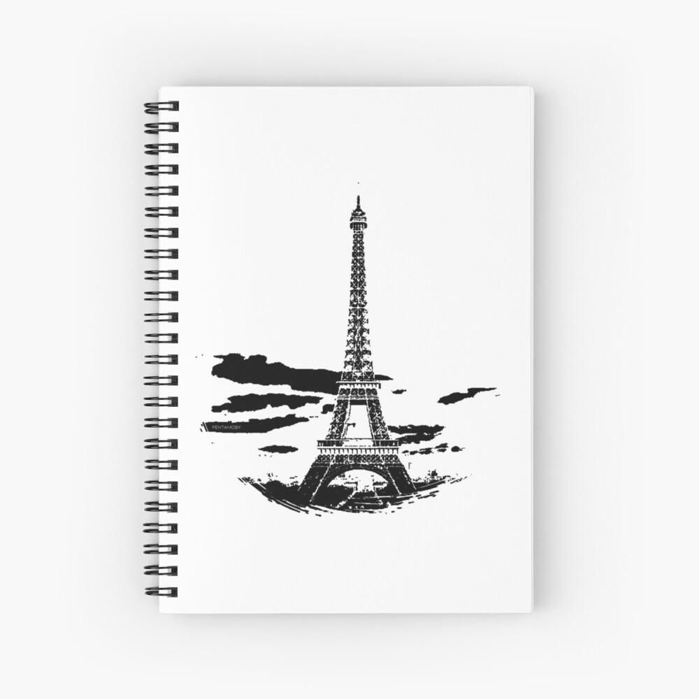 Eiffel Tower Stencil France (b) Spiral Notebook