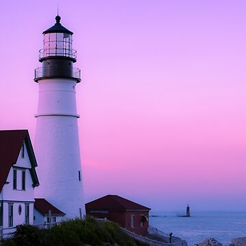 Pink Sunset Lighthouse  by newburyboutique
