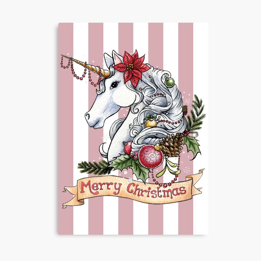 Weihnachts-Einhorn Leinwanddruck