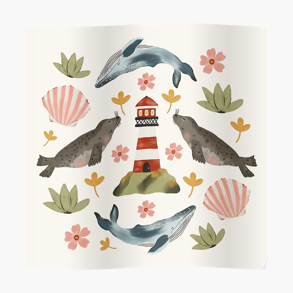 Lighthouses, Seals, and Whales Poster