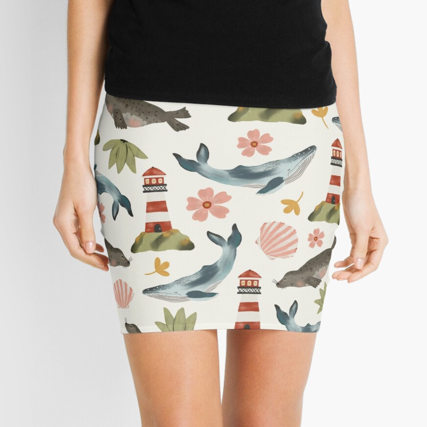 Lighthouses, Seals, and Whales Mini Skirt