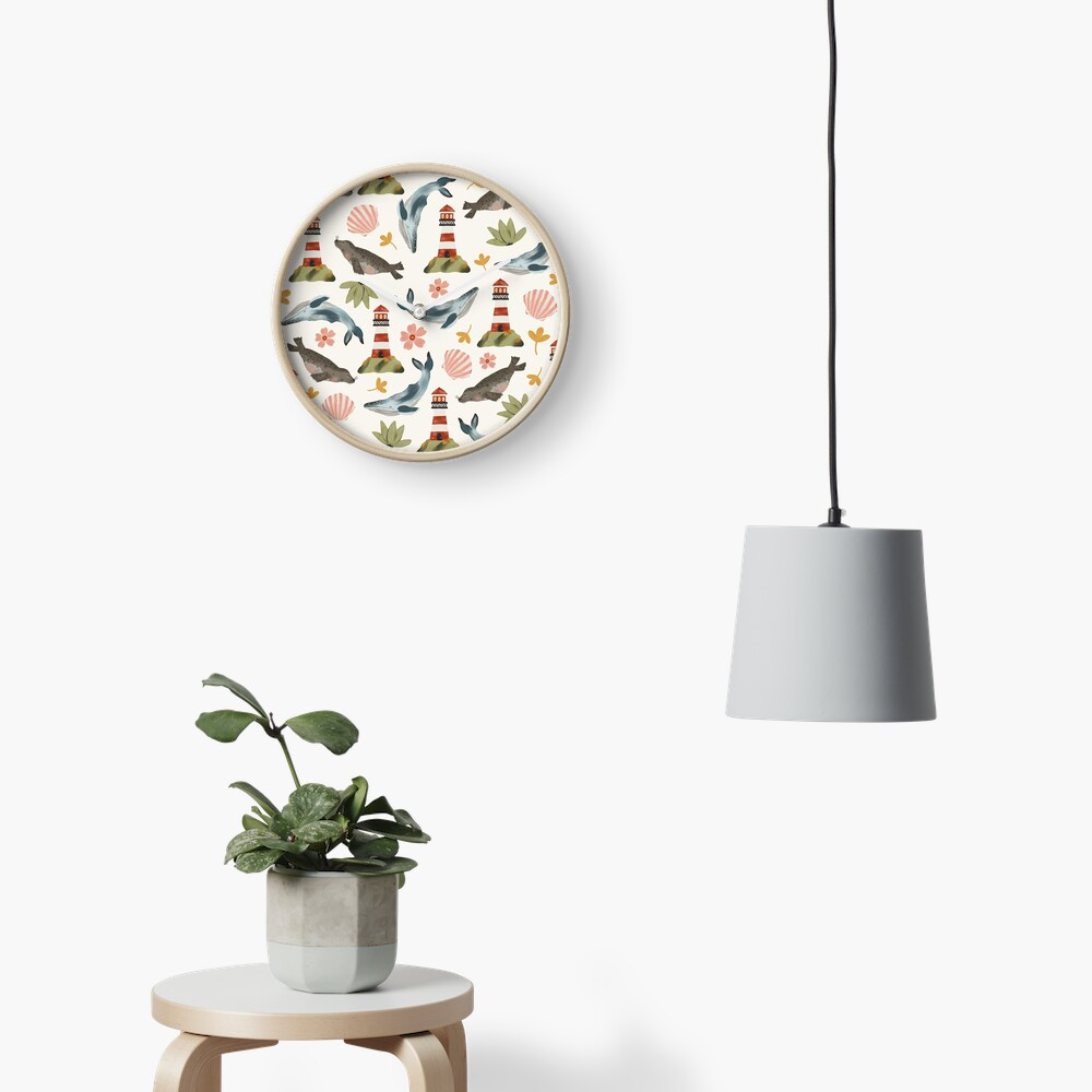 Lighthouses, Seals, and Whales Clock