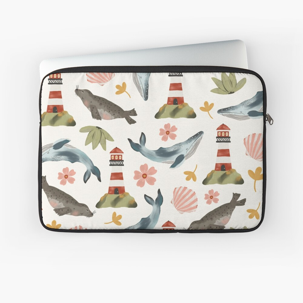 Lighthouses, Seals, and Whales Laptop Sleeve