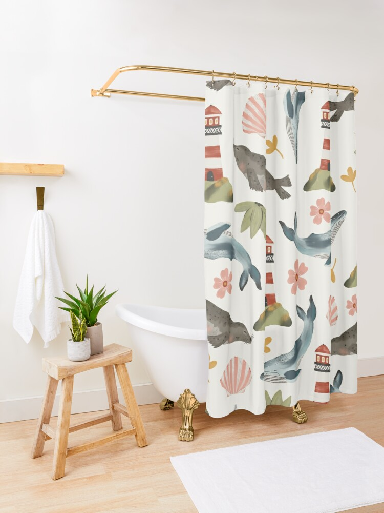 Alternate view of Lighthouses, Seals, and Whales Shower Curtain