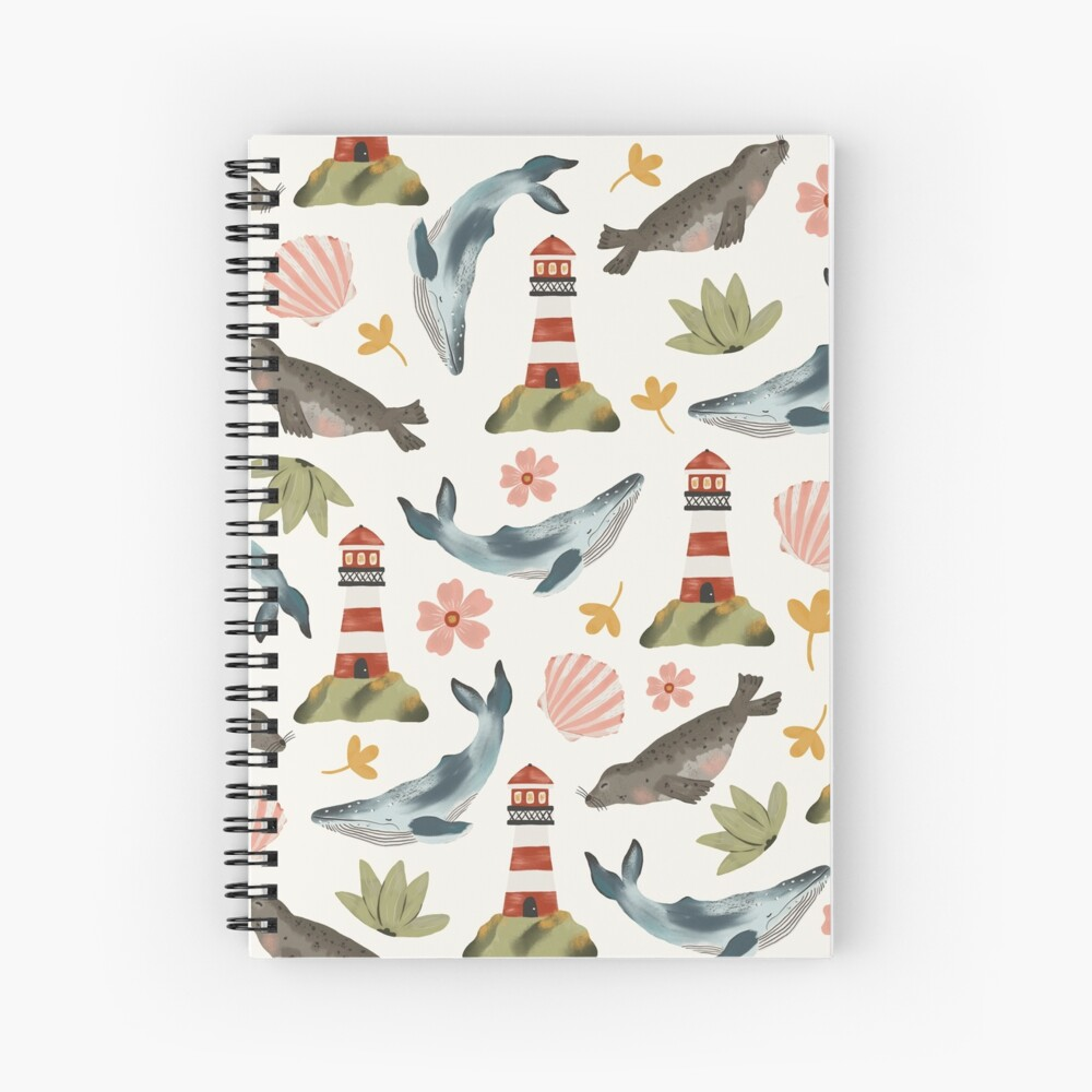 Lighthouses, Seals, and Whales Spiral Notebook