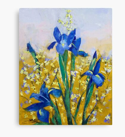 Iris and Forsythia Canvas Print