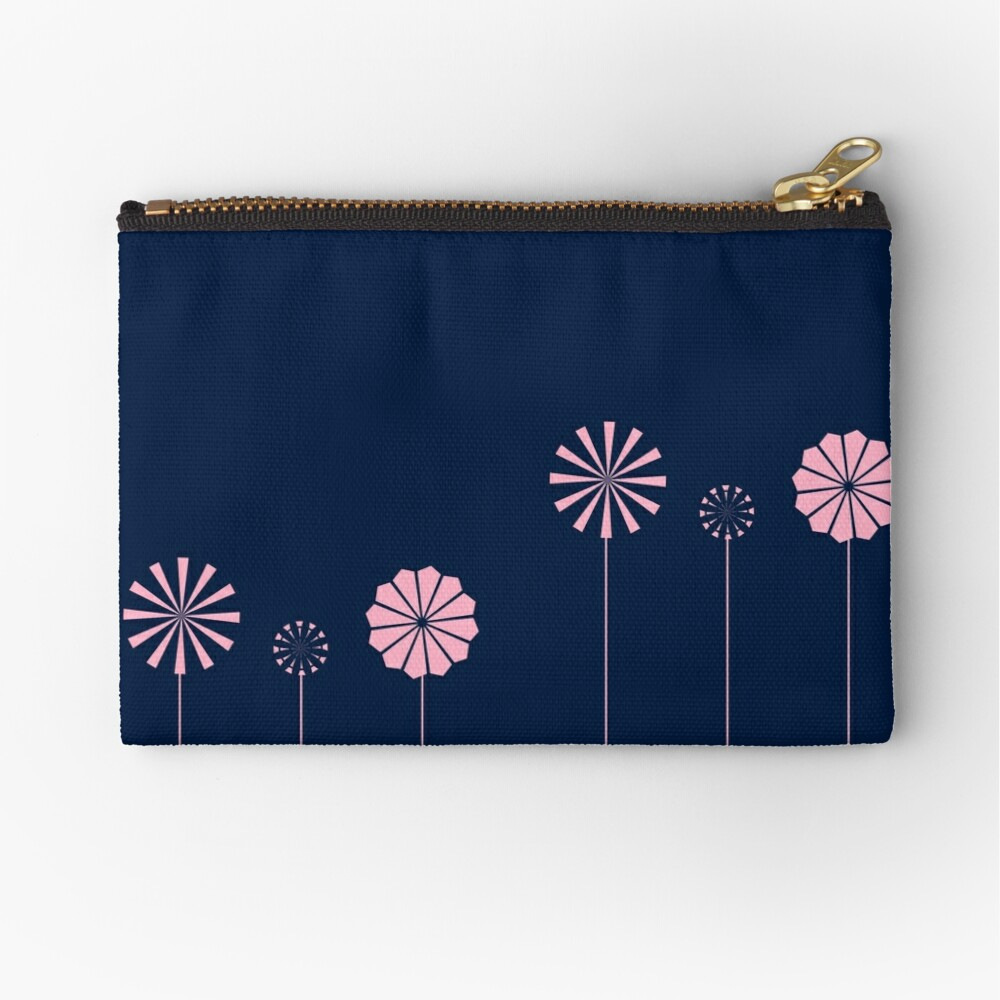 Pink Flowers at Night Zipper Pouch