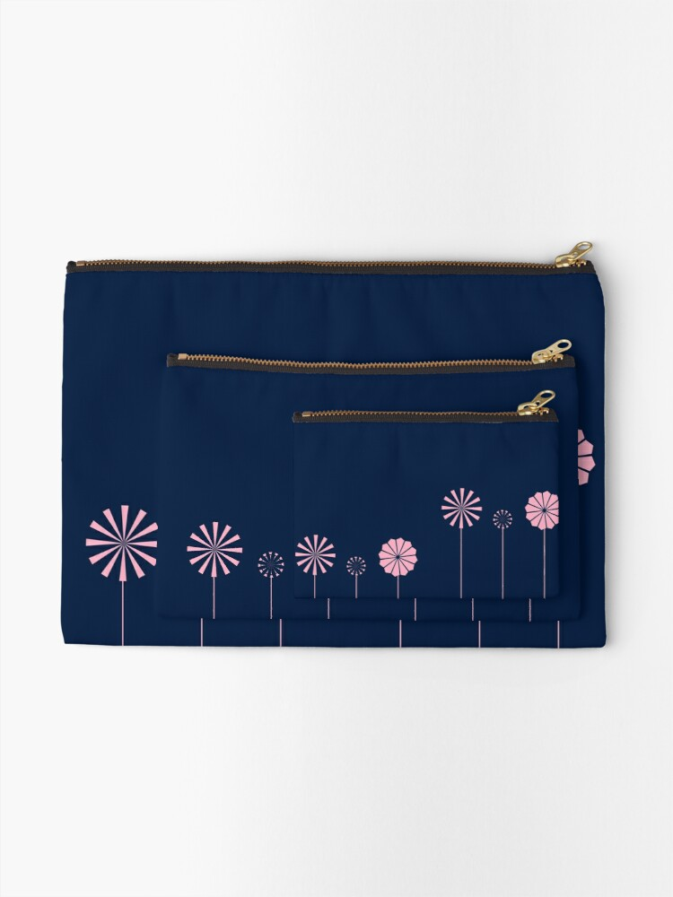 Alternate view of Pink Flowers at Night Zipper Pouch