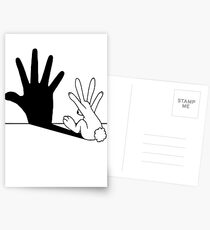 Kaninchen Handschatten Postkarten