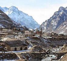 #Mountains, #road, #houses, #river, mountain village Tawlula  Karachay Balkar by znamenski