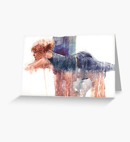 old jeans dusted down Greeting Card