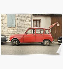 "Renault 4, ""Quatrelle"", Red Poster"