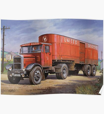 Scammell van United Dairies. Poster
