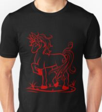 Minimal Unicorn Red T-Shirt