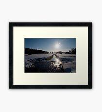 Sunset and snow, Warham, Norfolk, UK. Framed Print