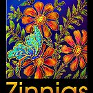 Poster, 'Zinnias by Yard Light' A Summertime Floral Fantasy by luvapples downunder/ Norval Arbogast