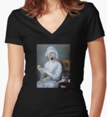 Knitting Machine Women's Fitted V-Neck T-Shirt